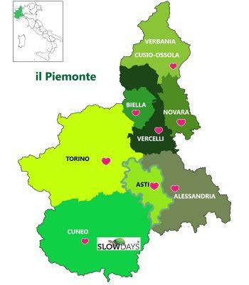 Cartina del Piemonte con evidenza delle province