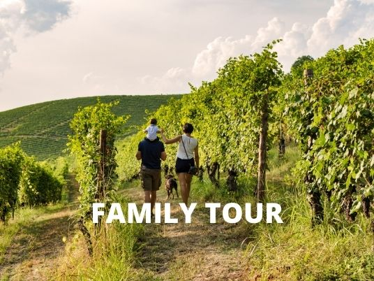 A family walking on vineyards path