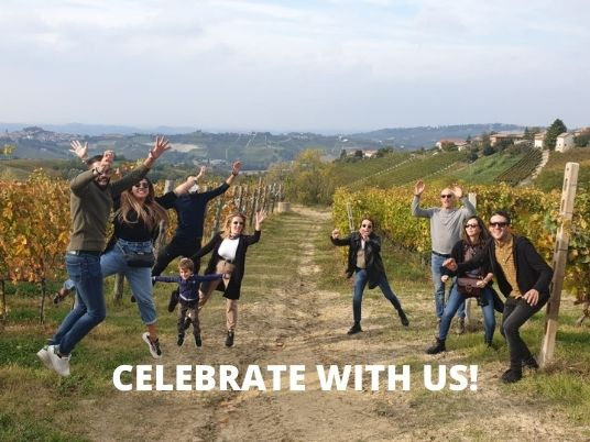 People in Langhe celebrating a birthday